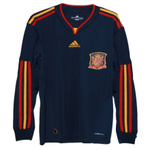 2010 Spain Away Royal Blue Retro Long Sleeve Soccer Jersey
