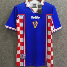 1998 Croatia Away Blue Retro Soccer Jersey