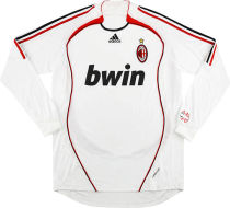 2006-2007 AC Milan Away White Retro Long Sleeve Soccer Jersey
