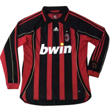 2006-2007 AC Milan Home Long Sleeve Retro Soccer Jersey