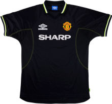1998-1999 Man United Away Black Retro Soccer Jersey