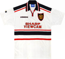 1997-1999 Man United Away White Retro Soccer Jersey