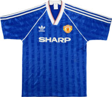 1988-1990 Man Utd Away Blue Retro Soccer Jersey