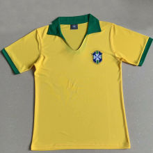 1957 Brazil Home Yellow Retro Soccer Jersey