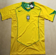 2004 Brazil Home Yellow Retro Soccer Jersey