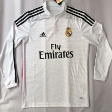 2014-2015 RM Home White  Retro Long Sleeve Soccer Jersey
