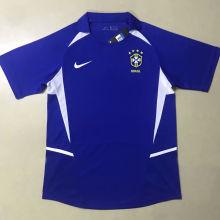 2002 Brazil Away Blue Retro Soccer Jersey
