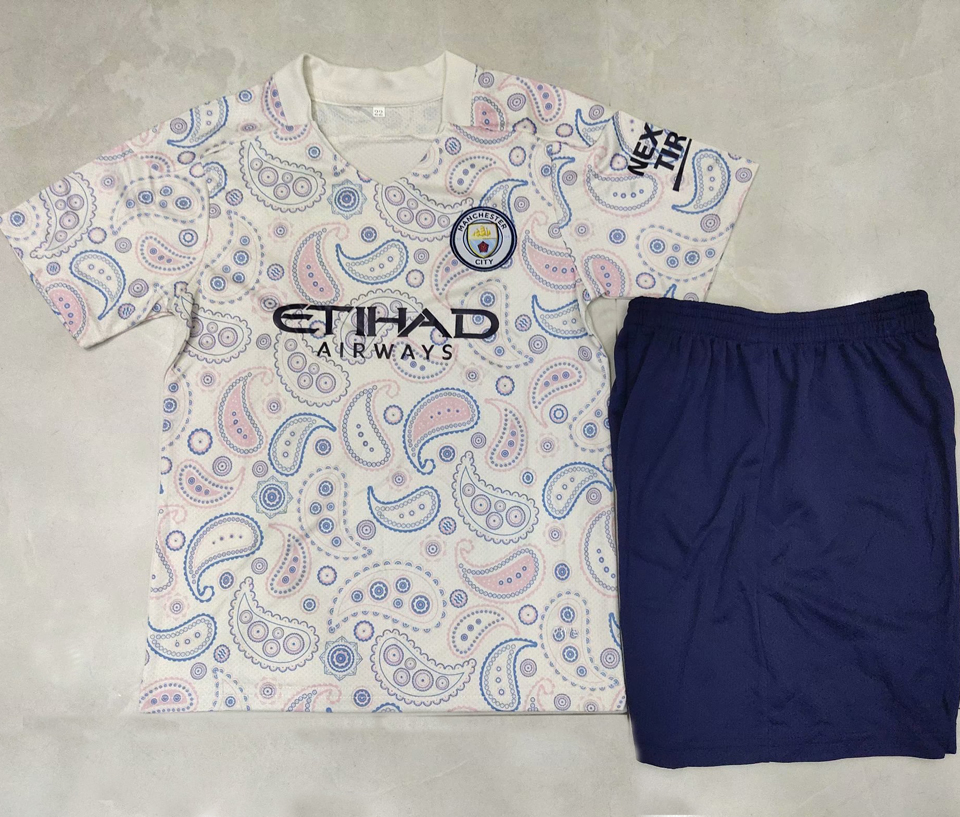 2020/21 Man City Home Blue Kids Soccer Jersey