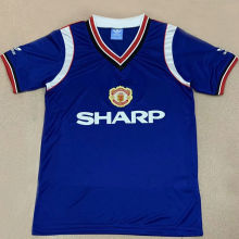 1984 Man Utd Away Blue Retro Soccer Jersey