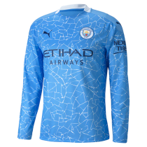 2020/21 Man City Home Long Sleeve Soccer Jersey