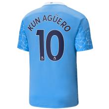 KUN AGUERO #10 Man City 1:1 Home Fans Soccer Jersey 2020/21(League Font)