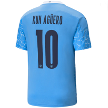 KUN AGUERO #10 Man City 1:1 Home Fans Soccer Jersey 2020/21(UCL Font 欧冠字体)