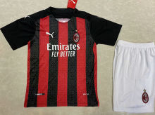 2020/21 AC Milan Home Red And Black Kids Soccer Jersey