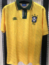 1991/93 Brazil Home Yellow Retro Soccer Jersey