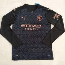 2020/21 Man City Away Black Long Sleeve Soccer Jersey