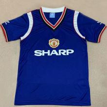 1984 M Utd Away Blue Retro Soccer Jersey