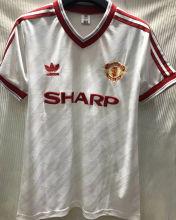 1986-1988 M Utd Away White Retro Soccer Jersey