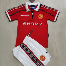 1998-99 M Utd Home Retro Kids Soccer Jersey