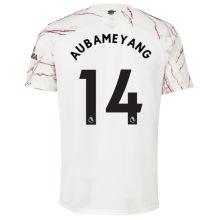 AUBAMEYANG #14 ARS 1:1 Away White Fans Soccer Jersey 2020/21(League Font)