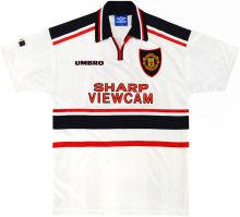 1997-1999 M Utd Away White Retro Soccer Jersey