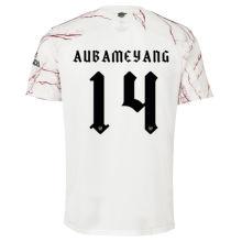 AUBAMEYANG #14 ARS 1:1 Away White Fans Soccer Jersey 2020/21(UEFA Font 欧冠字体)