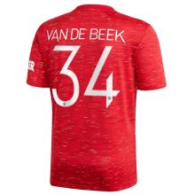 VAN DE BEEK #34 M Utd 1:1 Home Fans Soccer Jersey 2020/21(UCL Font 欧冠字体)