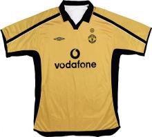 2001  M Utd Golden Retro Soccer Jersey