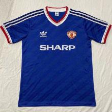 1986 M Utd Away Blue Player Version Retro Soccer Jersey球员版