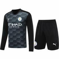 2020/21 Man City Black GK Long Sleeve Soccer Jersey(A Set)