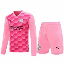 2020/21 Man City Pink GK Long Sleeve Soccer Jersey(A Set)