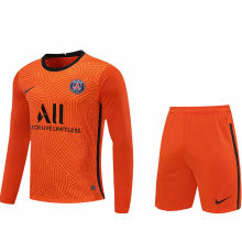 2020/21 PSG Orange GK Long Sleeve Soccer Jersey(A Set)