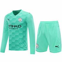 2020/21 Man City Green GK Long Sleeve Soccer Jersey(A Set)