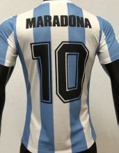 Maradona #10 1986 Argentina Home Retro Player Version Soccer Jersey球员版