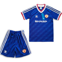 1986 M Utd Away Blue Retro Kids Soccer Jersey