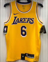 LA Lakers James # 6 Yellow NBA Jerseys Hot Pressed