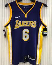 LA Lakers James # 6 V-Neck Purple NBA Jerseys Hot Pressed