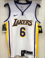 LA Lakers James # 6 V-Neck White NBA Jerseys Hot Pressed