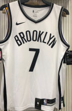 Nets Durant #7 White NBA Jerseys Hot Pressed