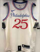 76ers SIMMONS #25 City Edition White NBA Jerseys Hot Pressed