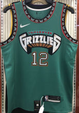Grizzlies Morant #12 Green NBA Jerseys Hot Pressed