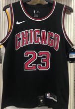 Bulls Jordan #23 Black NBA Jerseys Hot Pressed