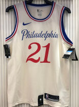 76ers EMBIID #21 City Edition White NBA Jerseys Hot Pressed
