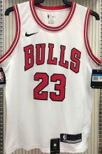 Bulls Jordan #23 White NBA Jerseys Hot Pressed