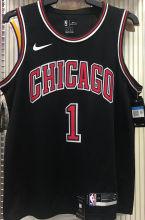 Bulls ROSE #1 Black NBA Jerseys Hot Pressed