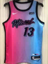 2021 Miami Heat ADEBAYO #13 City Edition Pink Blue NBA Jerseys Hot Pressed