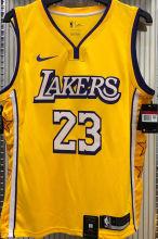 LA Lakers James # 23 V-Neck City Edition Yellow NBA Jerseys Hot Pressed