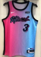 2021 Miami Heat WADE #3 City Edition Pink Blue NBA Jerseys Hot Pressed