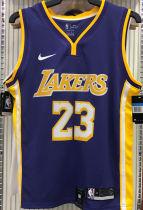 LA Lakers James # 23 V-Neck Purple NBA Jerseys Hot Pressed