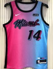 2021 Miami Heat HERRO #14 City Edition Pink Blue NBA Jerseys Hot Pressed