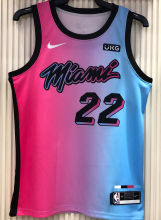 2021 Miami Heat BUTLER #22 City Edition Pink Blue NBA Jerseys Hot Pressed